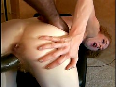 Annie Body sucks a huge black dick before taking it in her hairy cunt