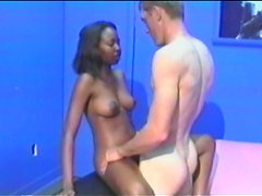 Ebony babe's nailed by a big white cock in amateur clip