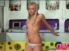 Teen blonde with tiny titties masturbates