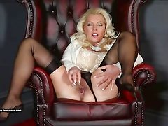 Posh Milf Leggy Lana fucks glass toy in sheer nylons