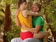 Nice blonde babe gets her pussy licked and fucked in a park