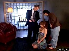 Sexy Japanese Girl Gives Blowjobs To Two Business Men