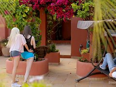 Beata and Nancey suck massive dick and gets fucked outdoors