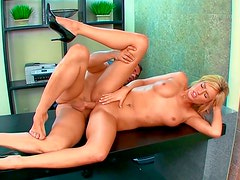 Curvy nerdy secretary gets hammered by her boss