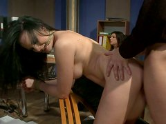 Wild and crazy sex in the office with chubby and horny female