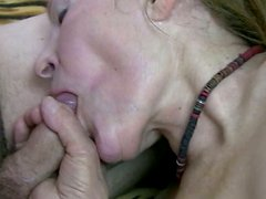 Horny granny gets her fat pussy fucked with a dildo