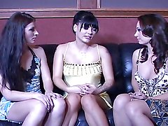 Horny ladies love to make you hard with their lesbian threesome