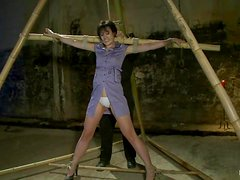 Tied up Dylan Ryan gets suspended and toyed by her master