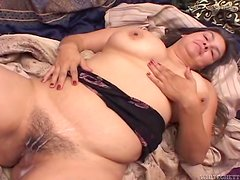 Chubby brunette with huge boobs gets fucked in her hairy pussy