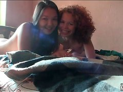 Curly hair redhead teen eats out cunt