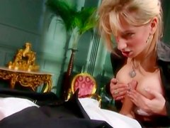 Obedient butler eats his blonde mistress's asshole and wet pussy