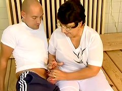 Chubby granny Sue gets seduced and fucked by her yoga coach