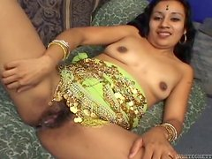 Indira blows a dick and gets fucked in her hairy Indian pussy
