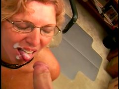 Horny granny is sucking a huge cock with passion