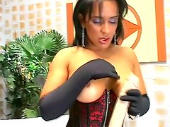 Nasty Pamela Carvalho sucks big dildo and toys herself