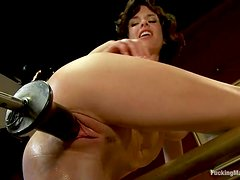 Smoking hot and slender brunette siren Veronica Avluv gets it from the device