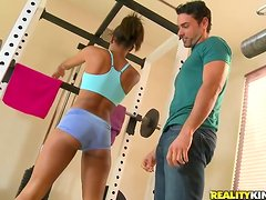Sporty ebony cutie Staci Ellis gets fucked in many positions in a gym