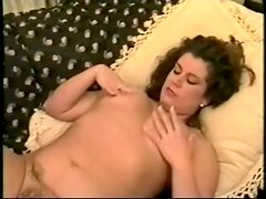 Chubby Fawntana plays with her hairy pussy and sucks a dick