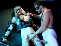 Submissive blonde babe with big boobs is finger fucked in BDSM porn scene