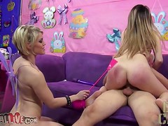 Ash and Missy Scarlet share a double dildo after jumping on a cock