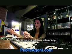 Slutty brunette chick rides a dick and give a blowjob in a bar