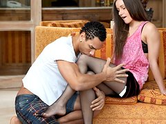 Naughty Teens In Interracial Hardcore Sex On Sofa