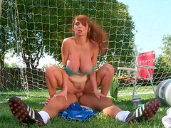 Super busty redhead MILF gets shagged by buff soccer trainer