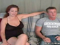 Curly Kandis gives an amazing titjob and sucks a dick