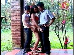Charming Latina gets balled by two hungry men