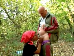 Mature brunette Mandy gets her holes licked and fucked hard in a forest