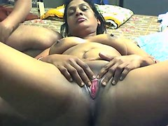 Amateur scene with Indian BBW girlfriend getting bottle in the pussy