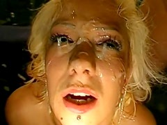 Bukkake with insane German blonde with red lips