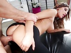August Ames fucked through her yoga pants
