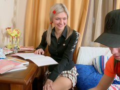 Hot Blonde Teen Invites Her Friend To Study Together