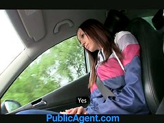 Big-breasted brunette enjoys sucking and riding a schlong in a car
