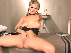 Ashlynn Brooke screams as she dildos her vagina