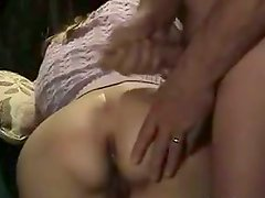 Horny dude cums huge on skinny butt cheeks of his GF