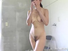 Ugly Dude Fucking a Pony-Tailed Japanese Girl in the Shower