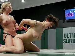 Nasty Dia Zerva toys Saffron with a strap-on after a catfight