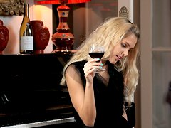 Elegant Blonde Babe Sasha Gets Drunk And Horny And Plays With Her Pussy