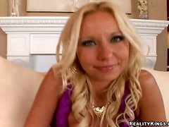 Blonde milf Cody Rox sucks a sachlong before taking it in her shaved vag