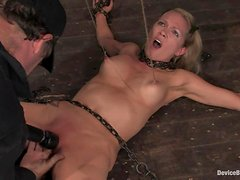 Delicious blond angel Rain Degrey is being trapped and balled pretty hard