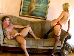 Horny Kelly Wells gives sloppy blowjob and smokes a cigar