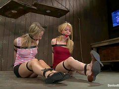 Two hot blonde babes have their first BDSM experience