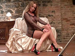 Fishnet Outfit and High Heels Make This Hottie Fun To Watch