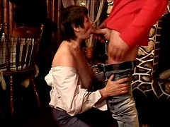 Nice wicked cumshot for this mature amateur being worked over with cock
