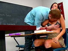 Curvaceous student babe gets laid with her nerdy coed at college