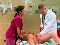 Busty patient Brandy Aniston gets horny sucking her doctor's big cock