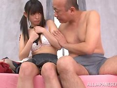 Pretty japanese skank getting it on with an older man in the shower.