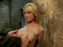 Luscious and honry blondie gets twitched and left in bondage
